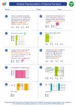 Multiple Representation Of Rational Numbers Mathematics Worksheets