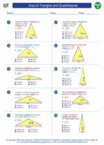 Area Of Triangles And Quadrilaterals Mathematics Worksheets And